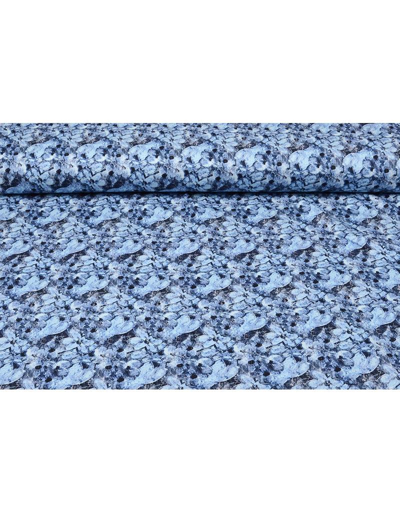 Baumwoll-Stretch Blaue Blumen