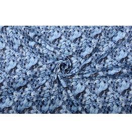Stretch Cotton Blue Flowers