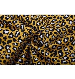 100% Baumwolle Pantherdruck Ockergelb