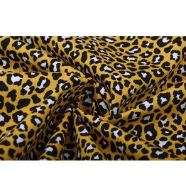 100% Cotton Panther Print Ocher Yellow