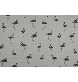 Sweatstoff Alpenfleece Flamingo Grau