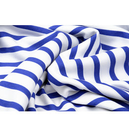 French Terry Striped White Blue