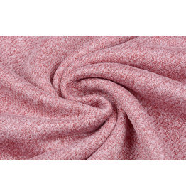French Terry Sweatshirt Fabric Light Wine Red Melange
