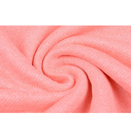 French Terry Sweatshirt Stof Fluor Roze Melange
