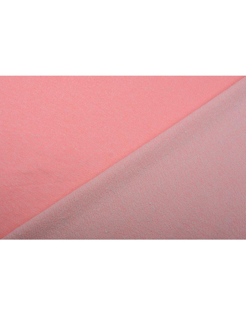 French Terry Sweatshirtstoff Fluorrosa Melange