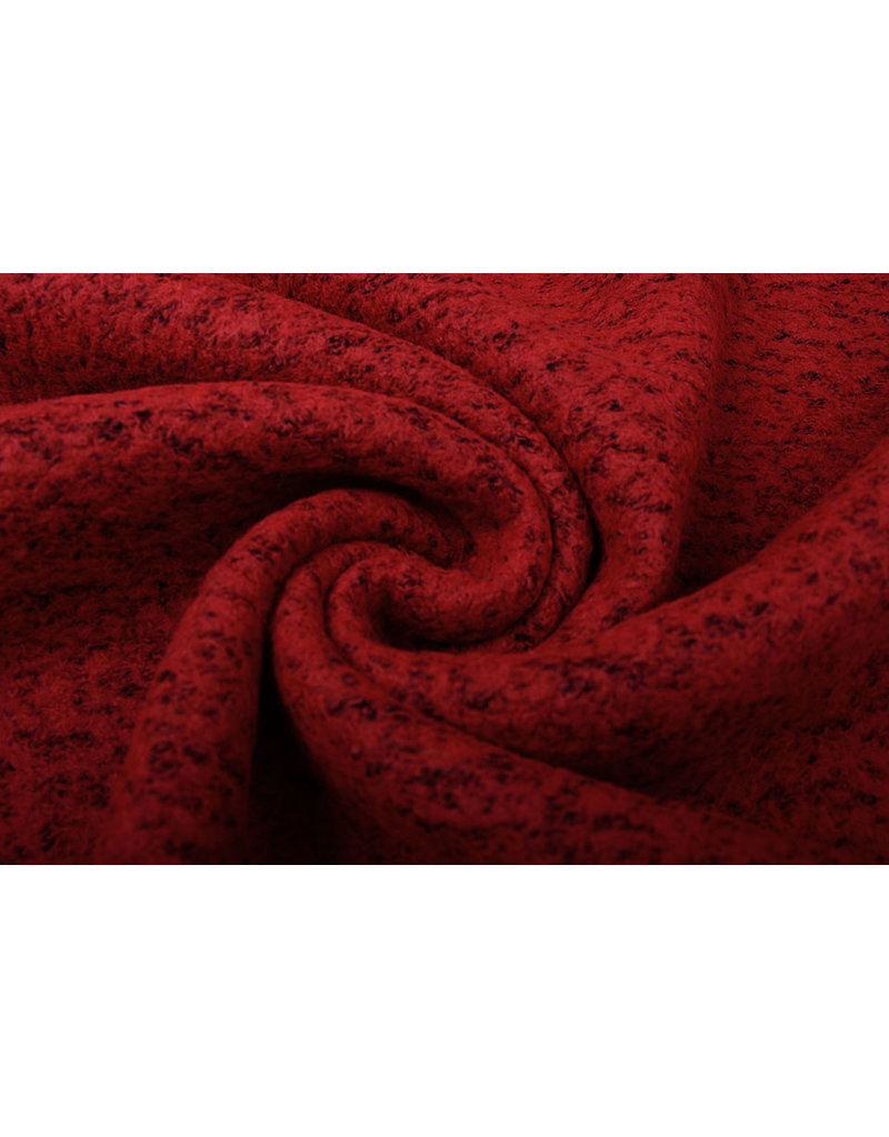 Gebreide Wollen Stof Lanoso Rood Zwart