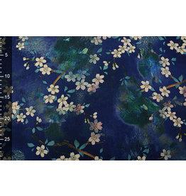 Scuba Crepe Bedruckt Blumenstrauß Blau