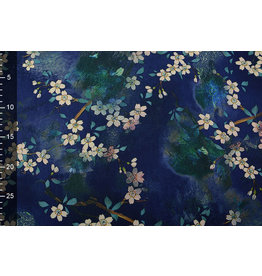 Scuba Crepe Printed Flower Bunch Blue