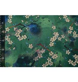 Scuba Crepe Bedruckt Blumenstrauß Grün