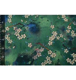 Scuba Crepe Printed Flower Bunch Green