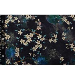 Scuba Crepe Printed Flower Bunch Black