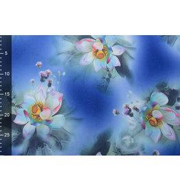 Scuba Crepe Printed Fantasy Flower Blue