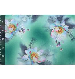 Scuba Crepe Printed Fantasy Flower Green