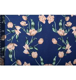 Scuba Crepe Bedruckt Tulpe Blau