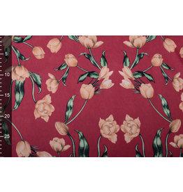 Scuba Crepe Printed Tulip Red