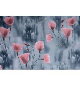 Scuba Crepe Grey Poppy Old Pink