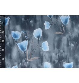 Scuba Crepe Bedruckt Grau Mohn Blau