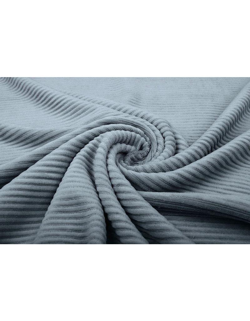 Baumwolle Trikot Cordstoff Breit Grau Blau