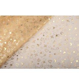 Organza Bedruckt Weihnachten Gold
