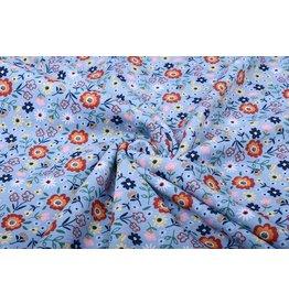 SweatStoff Alpenfleece Süße Kleine Blumen Blau