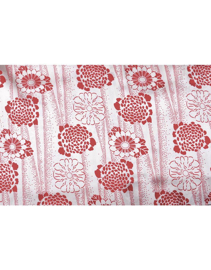 Poly Satijn Bloemen Rood