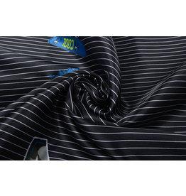 Poly Satin Black White Striped