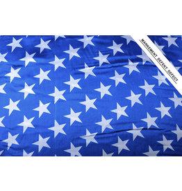 Polyester-Satin Sterne Blau Weiß 2
