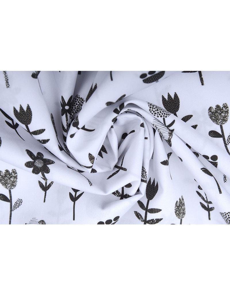 100% Katoen Bloemetjes Wit Zwart