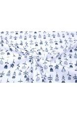 Stenzo 100% Katoen Bloemetjes Wit Marine