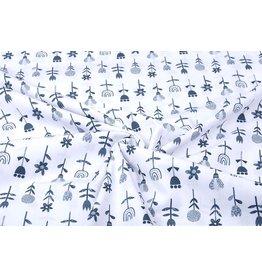 100% Cotton Flowers White Navy