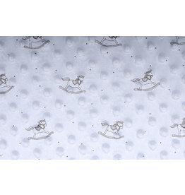 Schaukelpferd Minky-Fleece Silber