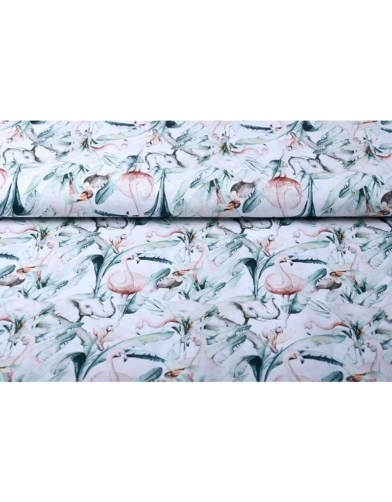 Stenzo 100% Baumwolle Tropische Elefant Flamingo