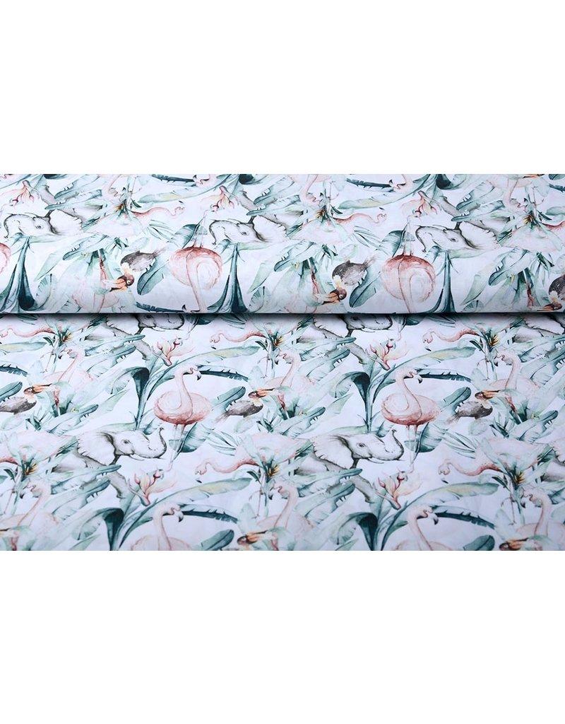 Stenzo 100% Katoen Tropische Olifant Flamingo