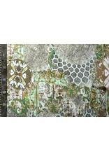 Crepe digitaal patchwork Groen
