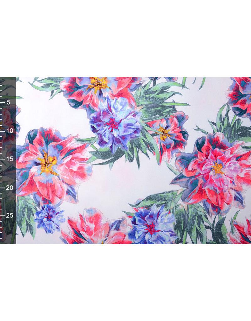 Digitaal Crepe stretch  blomsterhage Rot-Blau