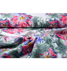 Digitaal Crepe stretch blomsterhage Rood-Blauw