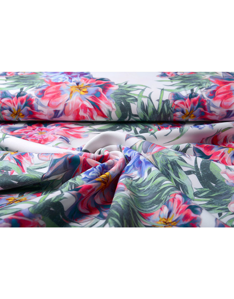 Digitaal Crepe stretch blomsterhage Rood-Blauw