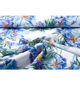 Digitaal Crepe stretch blomsterhage Blue