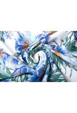 Digitaal Crepe stretch  blomsterhage Blau