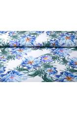Digitaal Crepe stretch blomsterhage Blauw
