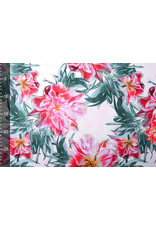 Digitaal Crepe stretch  blomsterhage Rot