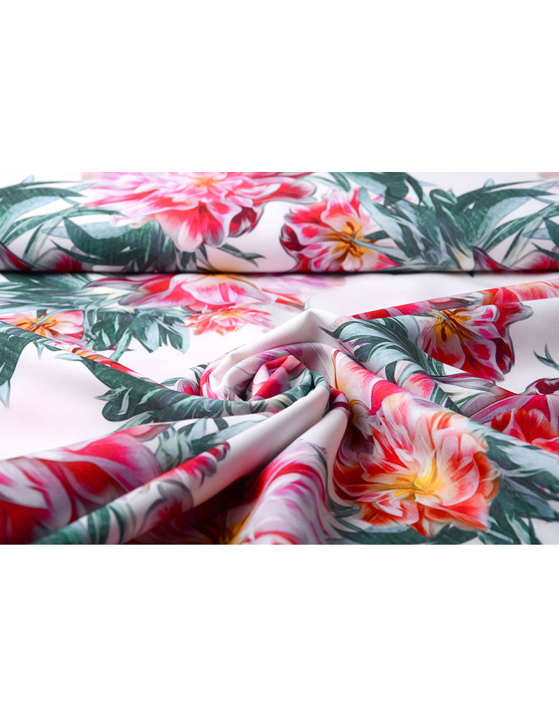 Digitaal Crepe stretch blomsterhage Rood