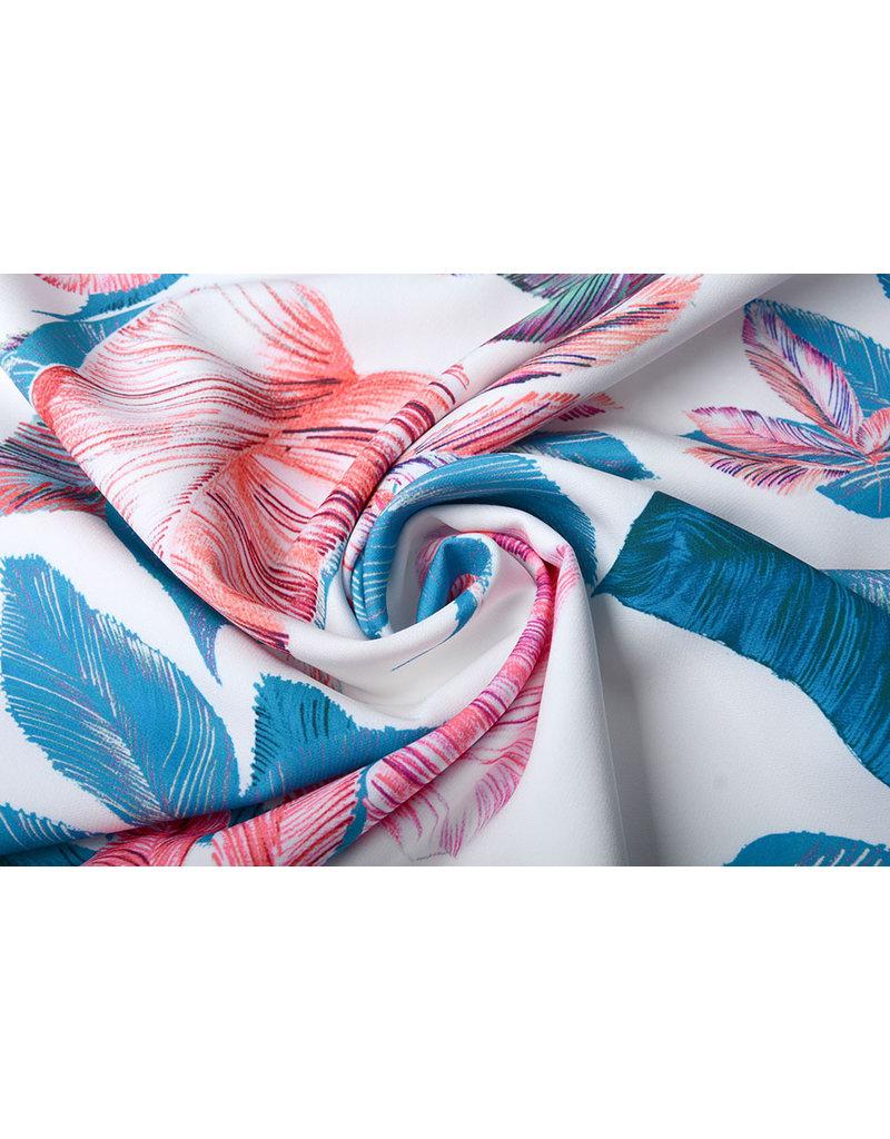Digitaal Crepe stretch bladeren Off white-Blauw