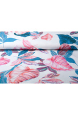 Digitaal Crepe stretch leaves Off white-Blue