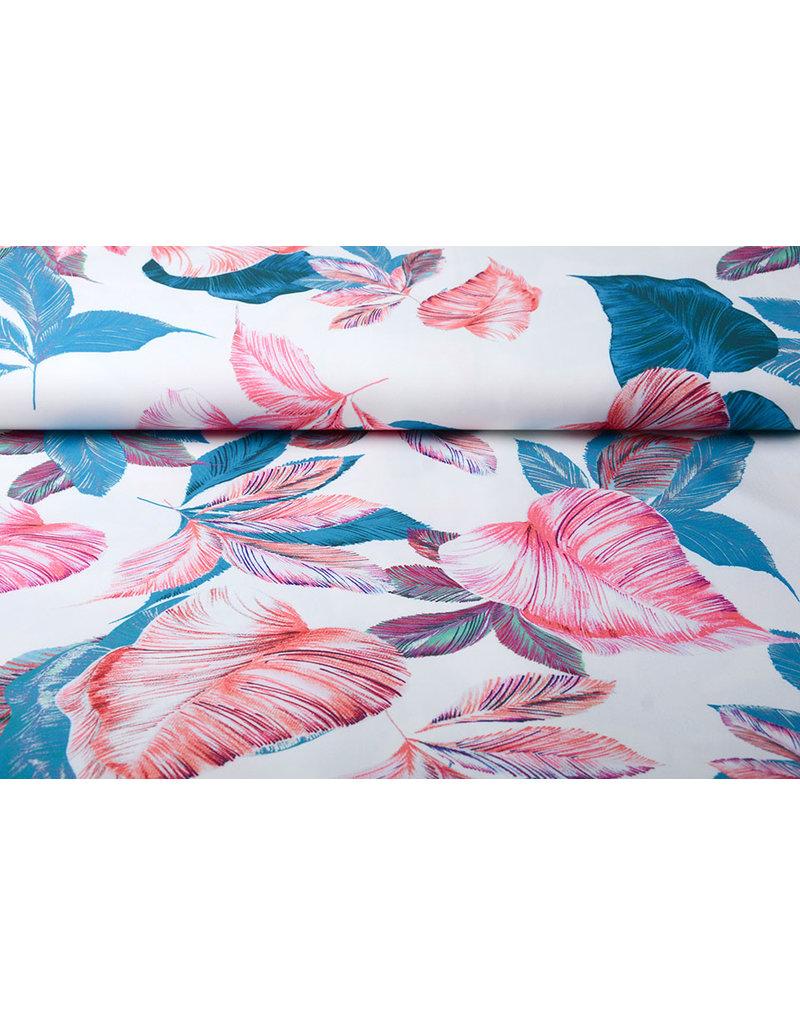 Digitaal Crepe stretch Blätter Off white-Blau