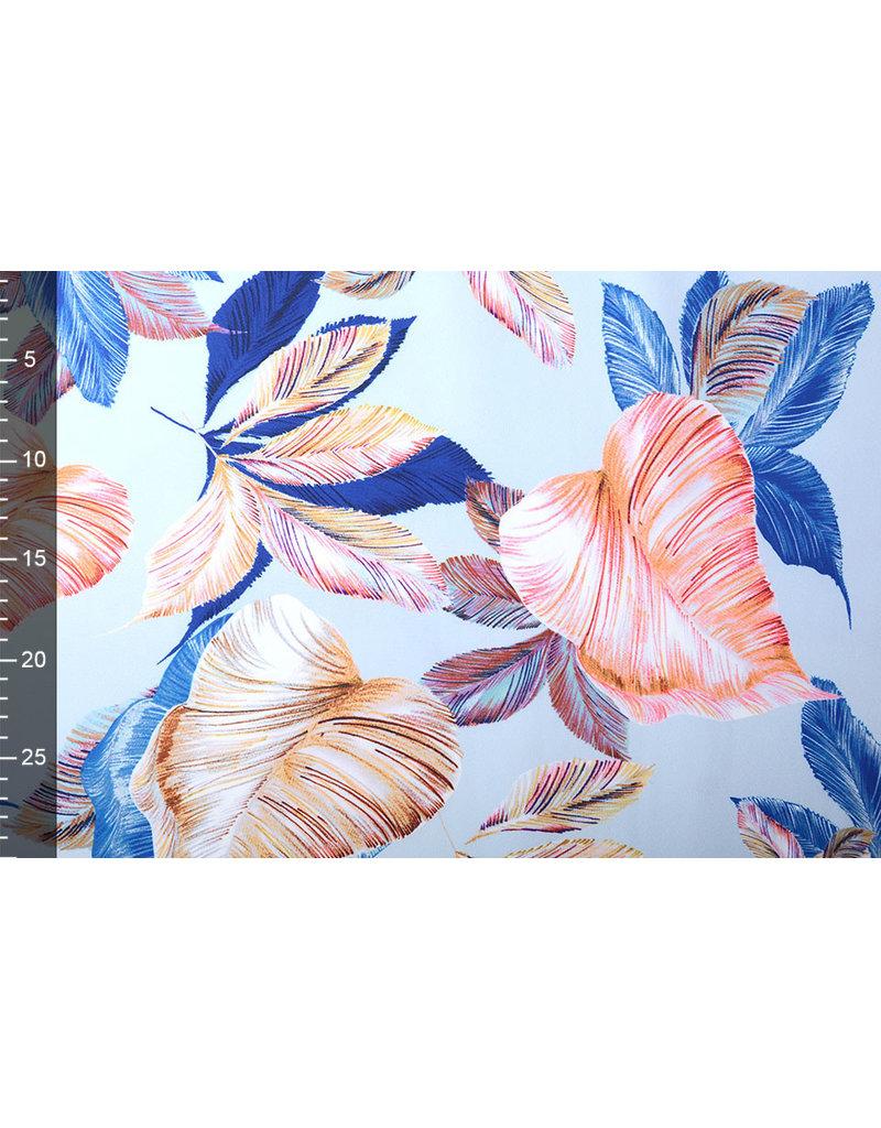 Digitaal Crepe stretch Blätter Indigo