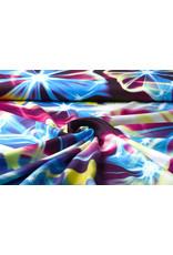 100% Viscose Digitaal Print Neon Roze Blauw