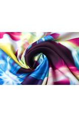 100% Viskose Digital Printed Neon Pink Blau