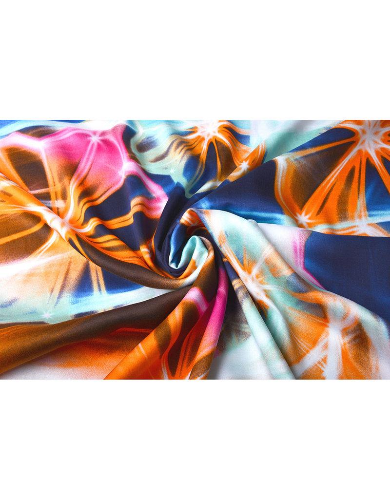 100% Viscose Digitaal Print Neon Blauw Oranje