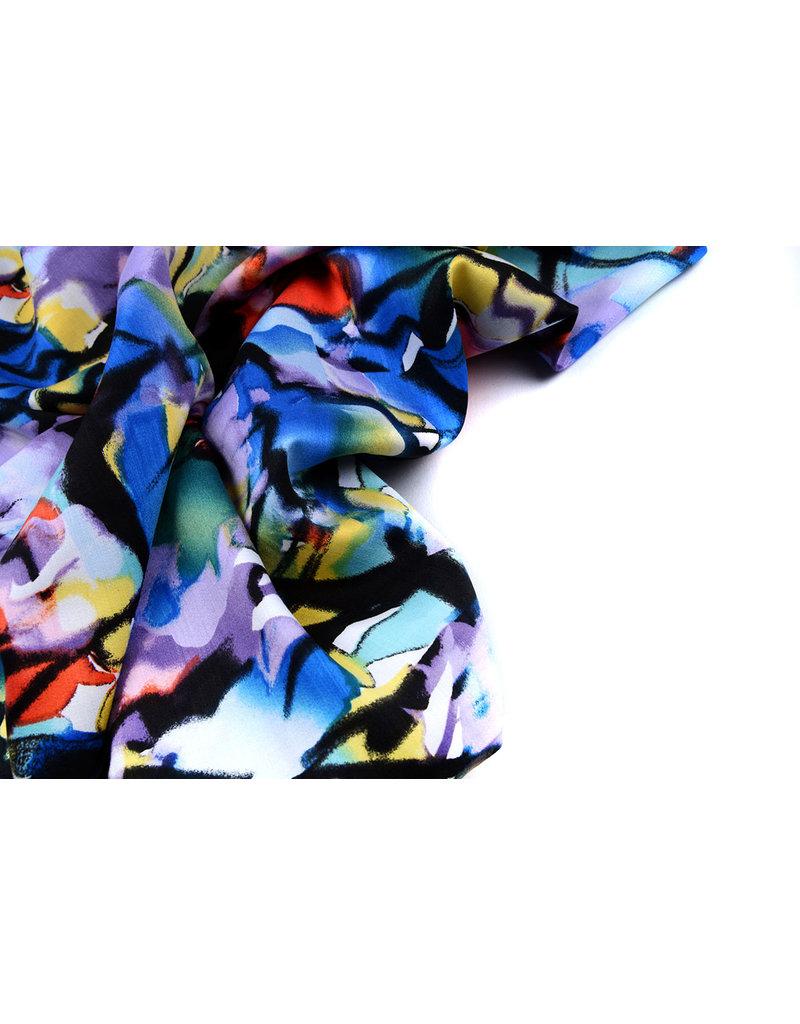100% Viskose Digital Printed Menas Blau